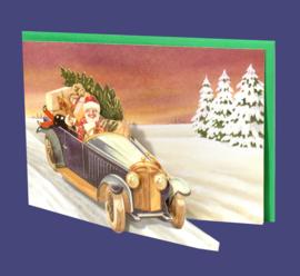 Mini 3D geschenk kaart: Kerstman in auto [XG-5493]