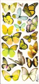 Geel groene vlinder poezieplaatjes Stickers C80