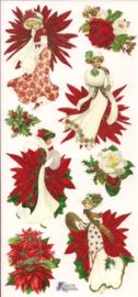 Kerstbloemen dames poezieplaatjes Stickers C76