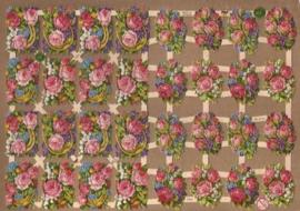Roos boeketjes met hoefijzer poezieplaatjes GL7384