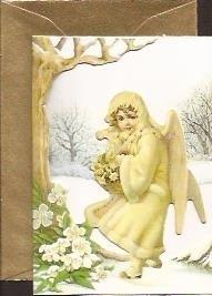 Mini 3D geschenk poezieplaatjes kaart: Engel met kerstroos