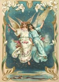 Zweef Engelen strooien bloemen Reliefkaart EF 3012