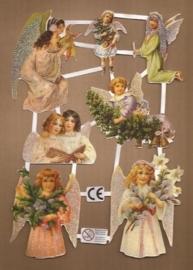 Kerst Engelen Deense poezieplaatjes D22 glitter