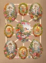 Baby engeltjes in bloemkrans poezieplaatjes 7364