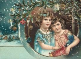 Kerst meisjes in sneeuw met kerstboom Reliefkaart EF 3001