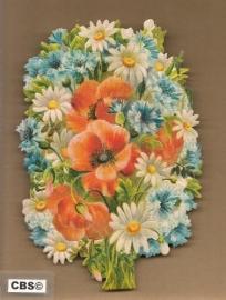 Veldboeket met klaproos en korenbloem poezieplaatjes 5090