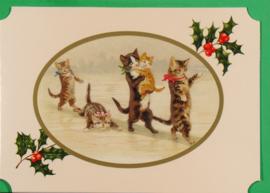 Christmas Catland kaart: Familie Poes op het ijs [XC-3126]