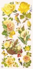 Gele rozen en bloemen poezieplaatjes Stickers C09
