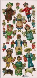 Kindertjes met speelgoed poezieplaatjes Stickers P60