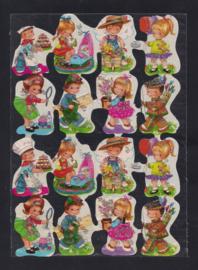 Kruger 98/11 Veel kindjes poezieplaatjes met glitter (1 plaatje kapot)