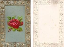 Antieke kaart met poezieplaatje Rode Roos goudopdruk