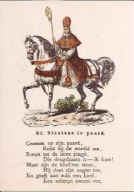 St. Nicolaas te paard prentbriefkaart [D1122]