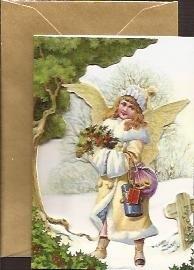 Mini 3D geschenk poezieplaatjes kaart: Engel met hulst