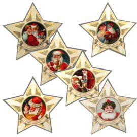 Mini geschenk kaarten Kerst in ster complete set