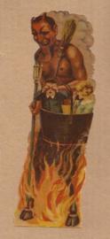 Demon `Krampus` met kindjes en vuur oud poezieplaatje