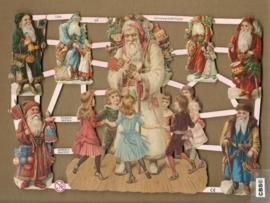 Kerstman met dansende kinderen poezieplaatjes 7255