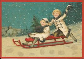 Op de slee in winterlandschap Glitter prentbriefkaart [SV 6Wg096]
