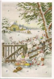 Adventskalender Kaart: Engelen spelen met geschenken - 12400