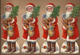 Kerstmannen (4) met cadeautjes & appels antieke poezieplaatjes