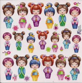 Meisjes in Kimono poezieplaatjes Stickers K16