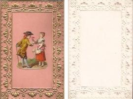 Antieke kaart met poezieplaatje Stelletje goudopdruk