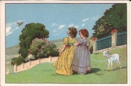 Oude Litho: meisjes met lammetje