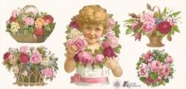 Meisje met rozen & krans poezieplaatjes Stickers P07