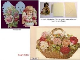 Sierkaart 5027: Ouderwetse Rozenmand Poezieplaatjes