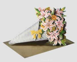 3D Boeket bloemen kaart: Lelies [EC-5007]