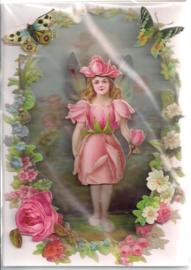 Roos engeltje 3D dubbele kaart