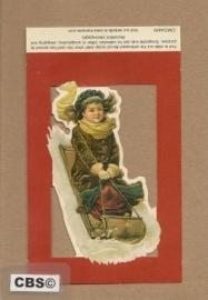 Poezieplaatje Meisje op nostalgische slee 4459