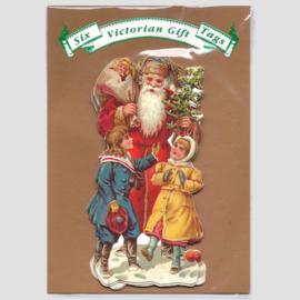 6 Victoriaanse Gift Tags: Kerstman met kindjes [XT-1418/6]