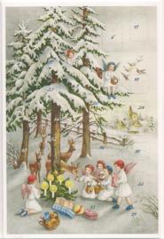 Adventskalender Kaart: Engelen vieren Kerst met hertjes - 12402