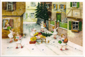 Adventskalender Kaart: Engelen bezorgen cadeautjes - 12418