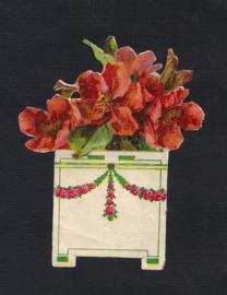 Appelbloesem bloempotje antiek poezieplaatje