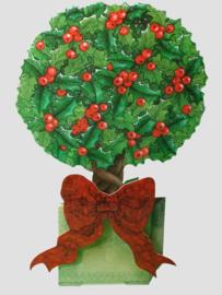 Die-cut Kerst kaart: Boom met hulst [XC-3464]