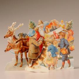 Pop-up kaart TDC 99230: Kerstman bij kinderen met rendieren