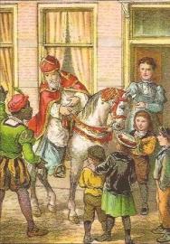 Sinterklaas komt bij kinderen prentbriefkaart [C11101]