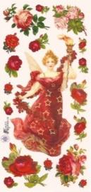 Engel met rode rozen poezieplaatjes Stickers C02