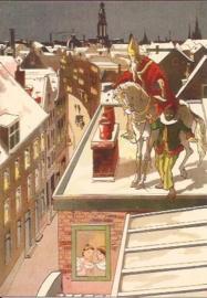 Sinterklaas bij de schoorsteen prentbriefkaart [C11095]