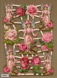 Roze rode rozen met roos engeltje poezieplaatjes 7343