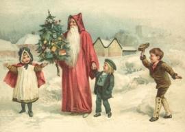 Kerstman met kinderen in sneeuw Reliefkaart EF 3033
