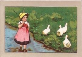 Oude Litho: kindje gaat de ganzen hoeden