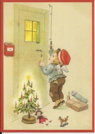 Engeltje bezorgd kerstcadeaus  Glitter prentbriefkaart [SV 6Wg005]