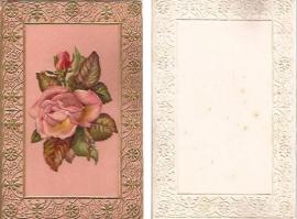 Antieke kaart met poezieplaatje Grote Roos goudopdruk