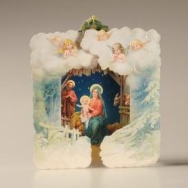 Christmas Card 3D: Maria, Jozef en Kindje Jezus met relief 488