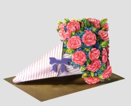 3D Boeket bloemen kaart: Anjers [EC-5005]