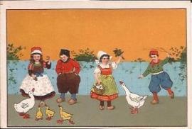 Oude Litho: klederdracht met ganzen
