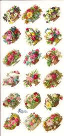 Bloemenmandjes poezieplaatjes Stickers C92