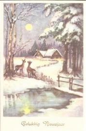 Hertjes bij huisjes - Gelukkig Nieuwjaar - oude kaart